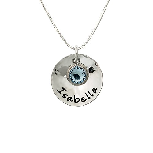Sterling Silver Personalized Domed and Hammered One Name Necklace. Customize with Your Choice of Characters. Hammered Finish. Includes 925 Chain and Swarovski Birthstone. Gifts for Her, Mother, Wife