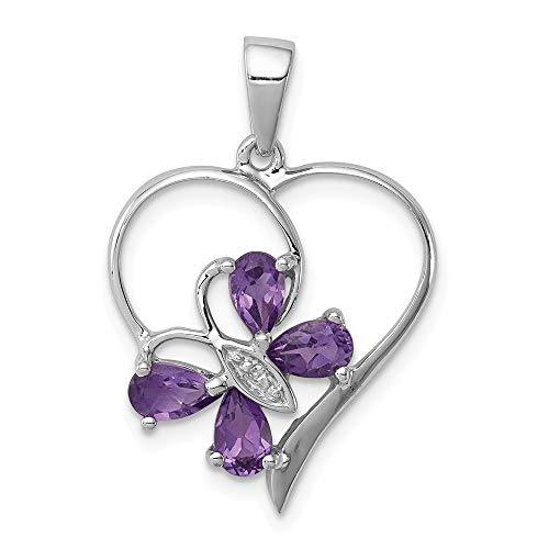 Jewelry Stores Network Amethyst & Diamond Butterfly Heart Pendant 25X18mm Sterling Silver 0.78 Ct 26x18mm