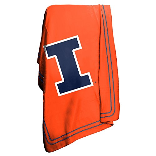 Logo Brands NCAA Illinois Fighting Illini Classic Fleece Blanket (Fighting Illini Blanket)
