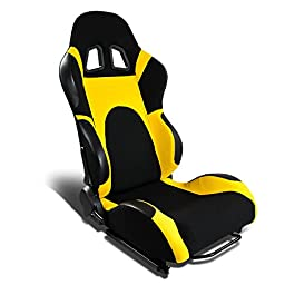 DNA RS-T6-BK-YE-R Black and Yellow Cloth Racing Seat (Right/Passenger Side Only)