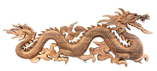 "NOVICA 211455"" Baru Klinthing Dragon Wood Wall Sculpture"