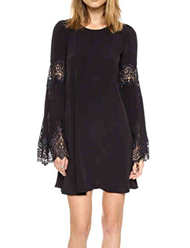 Buy bell sleeve black lace dress - 1
