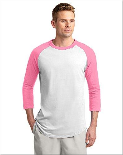 Sport-Tek T200 Colorblock Raglan Jersey - White/Bright Pink - XL