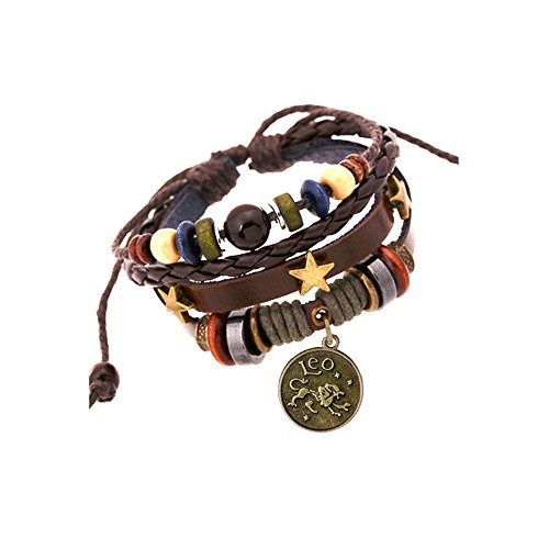 JEWSUN Handmade Genuine Real Leather Bracelet with Constellation Zodiac Sign Logo Charms,Color Wooden Beads,Button,Adjustable Size (Leo)