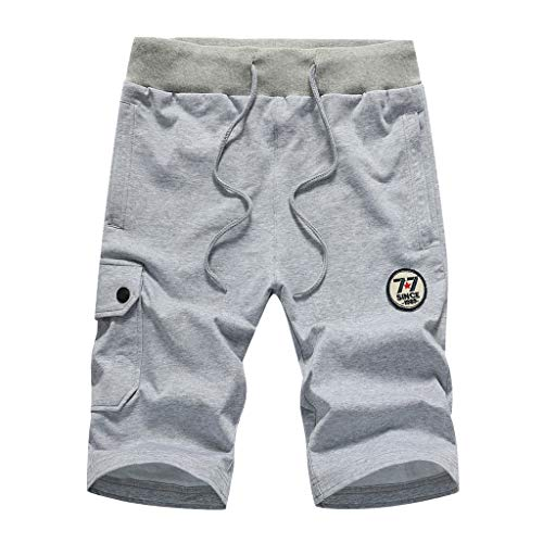 Keliay Bargain Shorts Trunks Men's Casual Military Shorts Multi-Pocket Pure Color Sports Running Short Pants Gray