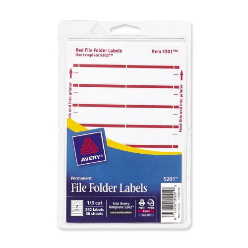 Avery File Folder Labels for Laser and Inkjet Printers, 1/3 Cut, Red, Pack of 252 (5201) ()