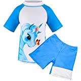 Suyye Girls Two Pieces Swimsuits Unicorn Rash Guard UPF 50 Tankini Kids Swimwear (Blue/Short Sleeve, 8-9 Years)