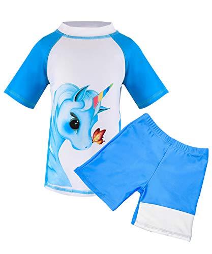 Suyye Girls Two Pieces Swimsuits Unicorn Rash Guard Tankini Kids Swimwear (Blue/Short Sleeve, 8-9 Years)