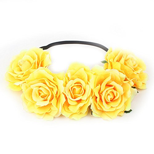 Funbase Women Rose Floral Crown Flower Headband For