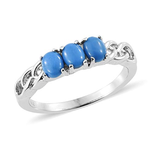 Cluster Museum (Shop LC Delivering Joy Stainless Steel Oval Ceruleite Statement Ring for Women Jewelry Gift Size 7)