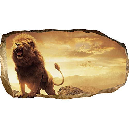 Mural Wall Art Startonight 3D Photo Decor Lion in Bedroom Amazing Dual View Surprise Large 32.28 inch By 59.06 inch Wall Mural Wallpaper for Living or Bedroom Animals Collection Wall Art