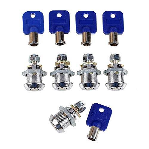 EG STARTS 5 Pcs/lot Arcade Machine Parts Short Cash Door Tool Box Tubular Cam Locks + 5X Same Number Keys for Arcade Machine Video Game Consoles Jamma Mame DIY Kits Parts