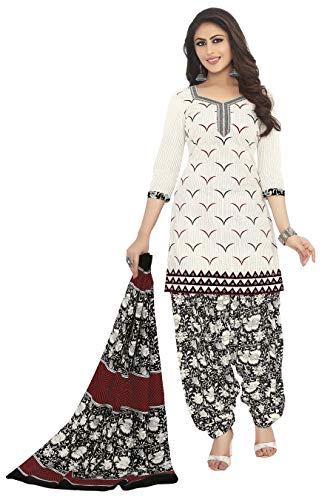 Miraan Women's Cotton Unstitched Dress Material (SAN1272, Off White, Free Size)
