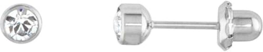 4mm Crystal Bezel Titanium Piercing Earrings