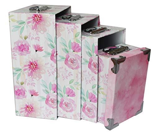 (ALEF Elegant Decorative Themed Nesting Gift Boxes -6 Boxes- Nesting Boxes Beautifully Themed and Decorated! (Pink Floral W/Metal Corners&Handles))