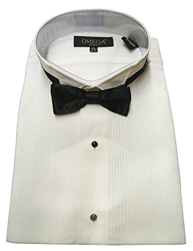 OmegaTux Mens Wing Collar Tuxedo Shirt with Bowtie, 1/8