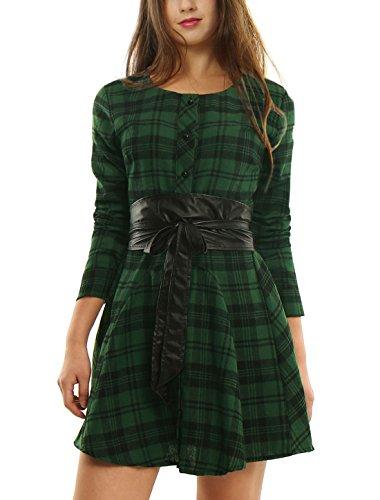 Allegra K Women's Plaids Long Sleeves Belted Mini A Line Shirt Dress Green S (US 6)
