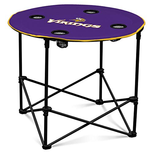 Minnesota Vikings  Collapsible Round Table with 4 Cup Holders and Carry - Pool Table Minnesota