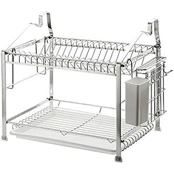 2-Tier Dish Drying Rack Dish Drainer Kitchen Storage Organization, Stainless Steel, GEYUEYA Home