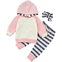 SMTSMT 3pcs/set Toddler Baby Boy Girl Clothes Hoodie Tops Pants Headband Outfits Set