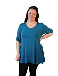Plus Size Short Button Sleeve Tunic Top