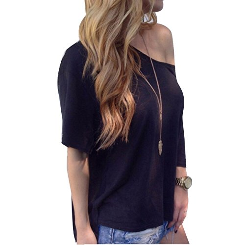 TININNA Moda Camiseta,Mujer verano casual suelto manga corta blusa de las tapas ocasionales de la camiseta Tops-blanco M Negro