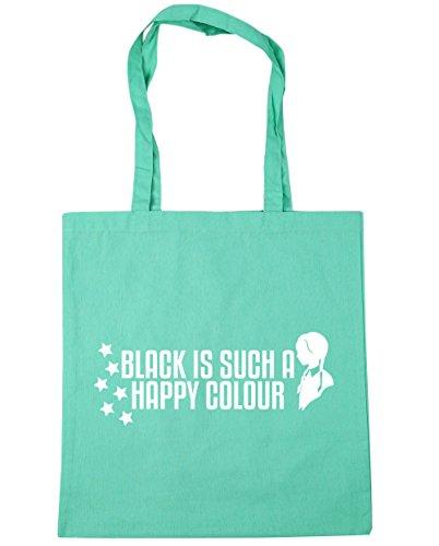 HippoWarehouse BLACK IS Such a Happy Color bolsa de la compra bolsa de playa 42cm x38cm, 10litros verde menta