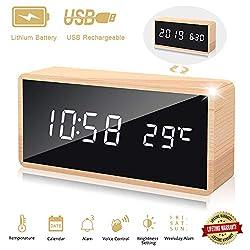 Alarm Clock Wood Digital Desk Clock,Best Birthday Gift Presents for Boy Girl 10 12 14 16 18 Year Old, Office Bedroom LED Wooden Clock for Men Women Temperature Date 3 Alarms,Adjustable Brightness