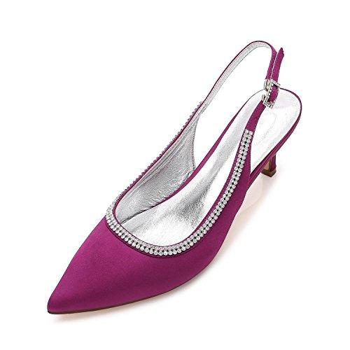 L@YC Zapatos Para Mujer De La Boda D99634-9 Rhinestone Ladies Low Mid Heel Pumps Ocultos Trabajo De La Plataforma Formal Court Shoes Size Purple
