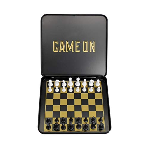 Travel Chess Set - Magnetic Traveling Mini Chess Set with Aluminum Carrying Case, Black and Gold