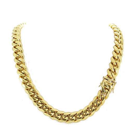 Yellow Gold Stock - Men's Miami Cuban Link Chain 14k 18k Yellow Gold White Or Rose Gold Plated Stainless Steel 8-18mm Thick (18k Yellow Gold 14mm, 28)
