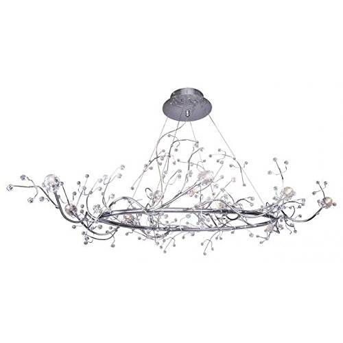 Decomust® 47 inch ,12 Light Oval Shaped Tree Twig Branch Flower Crystal Chandelier Light in Chrome Finish with Crystal