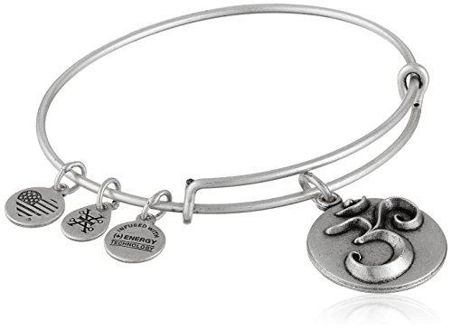 Alex And Ani Om Iii Expandable Rafaelian Silver Bangle Bracelet