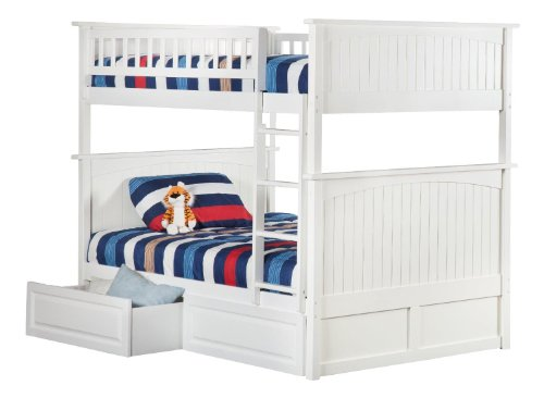 Atlantic Furniture AB59522 Nantucket Bunk Bed with 2 Raised Panel Bed Drawers, Full/Full, - Panel Bed Drawers