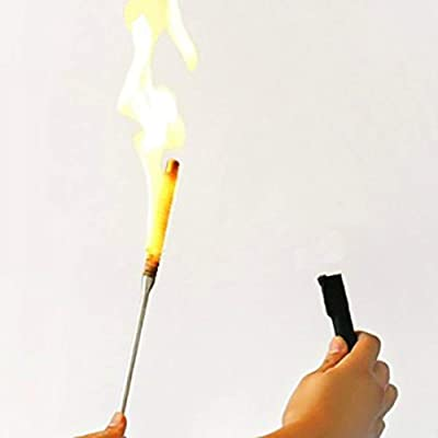 Enjoyer Flaming Torch to Appearing Cane Magic Tricks Magician Fire Magic Wand Stage Illusion Gimmick Props Comedy (Black-White): Toys & Games