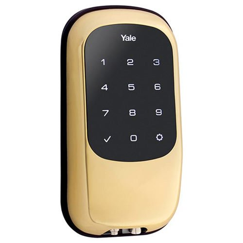 Yale-Touchscreen-Deadbolt-T1L-with-Z-Wave-Works-with-Amazon-Alexa-via-SmartThings-Polished-Brass-YRD120-ZW-605