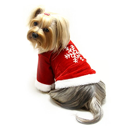 Velour Snowflake - Klippo Dog/Puppy Christmas/Holiday Embroidered Snowflake Velour Top/Shirt/Outfit for Small Breeds (SMALL)