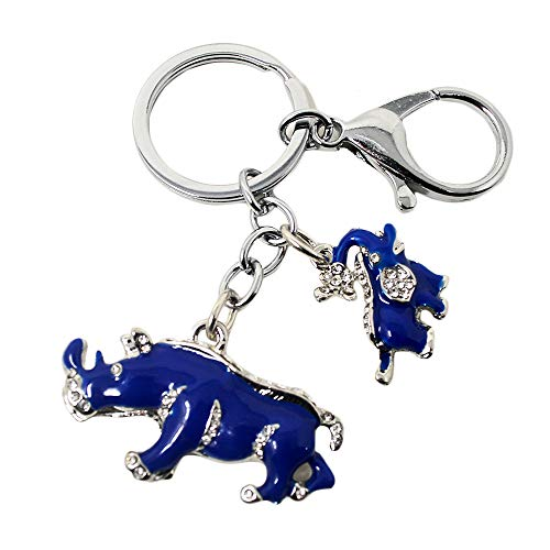 Feng Shui Blue Rhinoceros and Elephant Protection KeyChain Charm Amulet Handbag Hanging ()