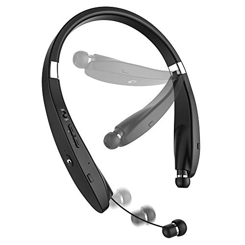 Bluetooth Headset, {Creative Design} Wireless V4.1 Foldable & Retractable Neckband Headphones -Black