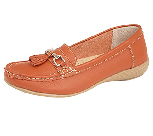 Jo & Joe Ladies Leather Moccasins Loafer Plimsole Pumps Womens Tassel Flat Shoes Orange zE9FfYY5gm