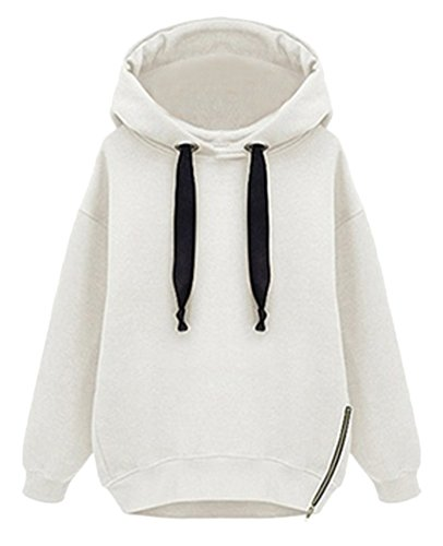 Smibra Womens Loose Solid Long Sleeve Hoodies With Side Zipper Shirt Blouse Top White Small by Smibra