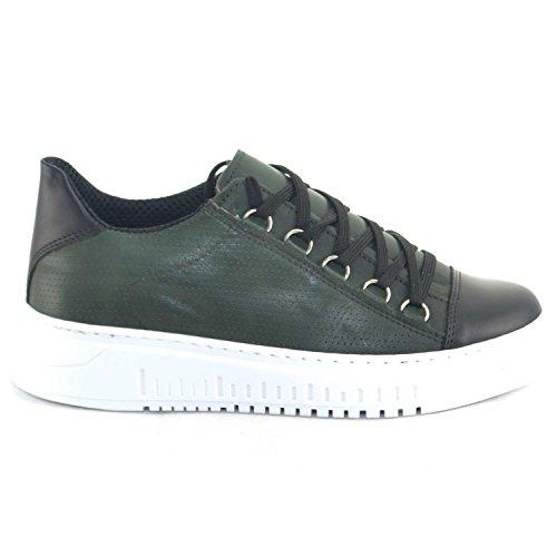 Vera Pelle Made Fondo Riporto in Pelle Moda Uomo Verde Italy Nappa Doppio Strisce di Bassa Giovanile Army Sneakers pwSYq40S