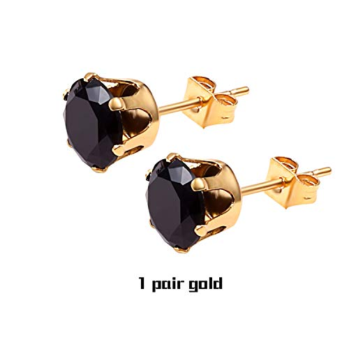 Small Crystal Stud Earrings Jewelry Silver Pair Crown Zircon Crystal Earring Women Mens,1 Pair Black Gold