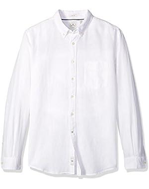 Men's Long Sleeve Linen Button-Front Shirt