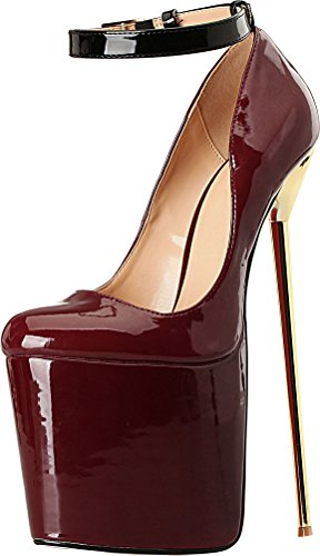 Abby A28 Donna Sexy Cena Tacco Alto 8.7 In Discoteca Partito Prom Cross Dressing Più Lato Us9-19 Stiletto Peep Toe Slip On Pompe Vino