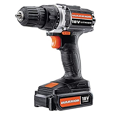 Warrior 18v Lithium ion (Li-ion) 3/8 inch Cordless Drill Driver Kit Keyless Chuck with 18 Volt 1.3ah (1300mah) Rechargeable Battery and Wall Charger 64118