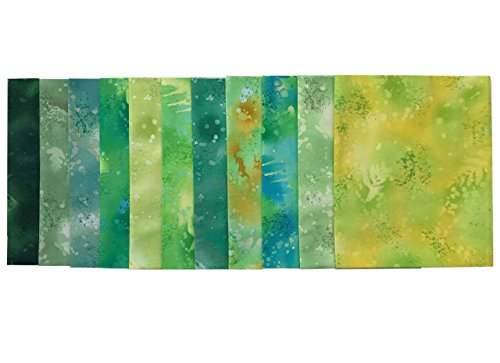 Fossil Fern Greens 11 pc Cotton Fabric Quilting FQs Assortment by Benartex Studio