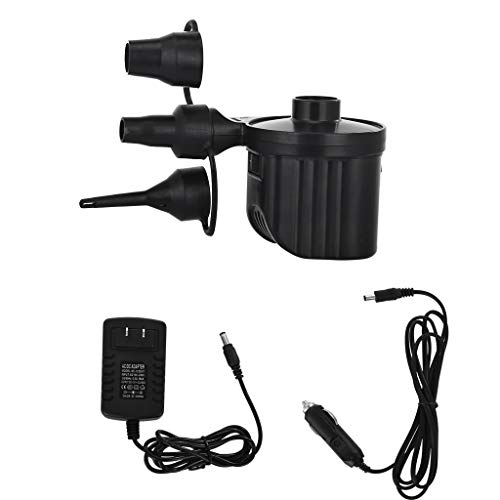 Portable Electric Air Pump forCar and Home, Quick-Fill Inflator Deflator Air Mattress Pump with 3 Nozzles - Perfect Inflator/Deflator Pumps (Black, 8.7×12.2×9cm/3.4×4.8×3.5in)