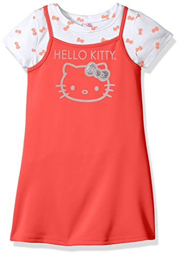 Hello Kitty Little Girls' 2 Piece Dress Set With Printed Tee, Coral, 5