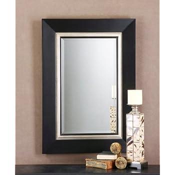 """Large Black Wood Beveled Rectangular Wall Mirror 40"""""""